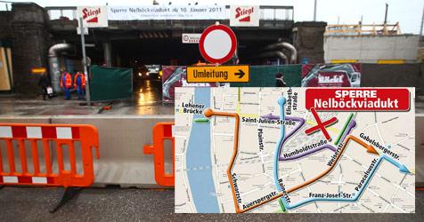 Nelböck-Viadukt ab sofort gesperrt - Chaos ausgeblieben (Bild: Mike Vogl - Pressefoto Neumayr/ Krone-Grafik)