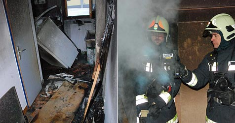 Brand in Toilette der HTL Mödling ausgebrochen (Bild: Herbert Wimmer/BFK Mödling)
