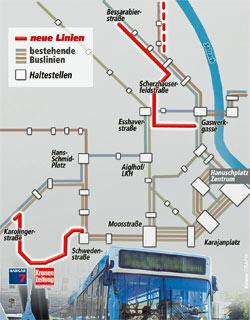 """""""Krone"""" und Hangar 7 sind bald per O-Bus erreichbar (Bild: Krone-Grafik)"""