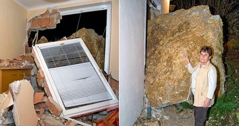 15-Tonnen-Felsbrocken kracht in Schlafzimmer (Bild: Stefan Schneider)