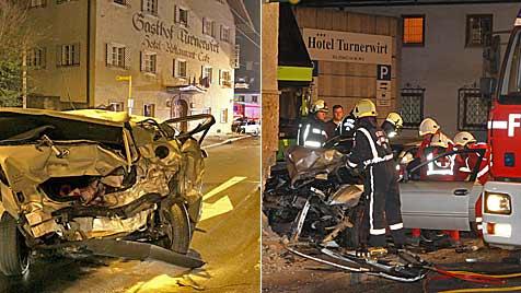 Pkw-Lenker rammt geparktes Auto und dann Hotelfassade (Bild: Markus Tschepp)