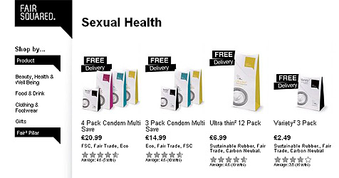 Britische Firma verkauft Fairtrade-Kondome (Bild: Screenshot Fair Squared)