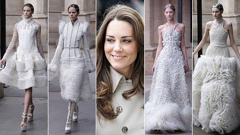 Trägt Middleton so ein Kleid mit Federn zur Royal-Hochzeit? (Bild: AP, EPA)