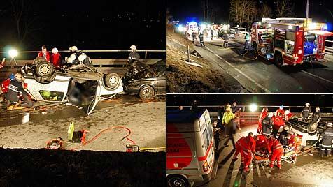 Pkw-Kollision nach Überholmanöver in Bad Gastein (Bild: FF Bad Gastein)
