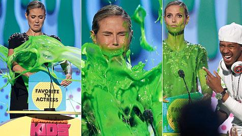 "Igittigitt! Heidi Klum mit grünem ""Schlatz"" begossen"