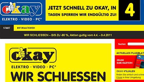 Elektro-Diskonter Okay sperrt Filialen in Österreich zu (Bild: Screenshot Okay)