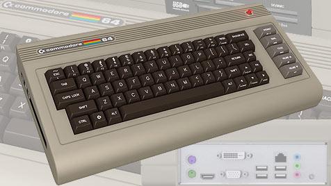 Neue Technik, altes Design: C64 feiert Wiedergeburt (Bild: commodoreusa.net, krone.at-Grafik)
