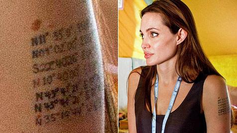 Trägt Angelina Jolie Brads Geburtsort am linken Oberarm? (Bild: AP)