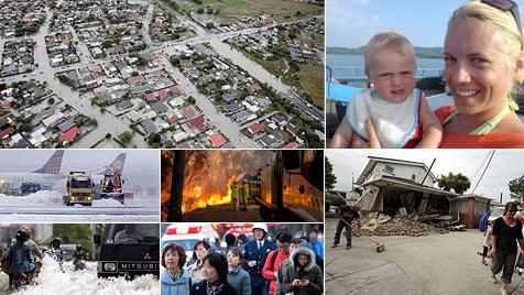 Jungfamilie flittert sich durch sechs Naturkatastrophen (Bild: AP, EPA, facebook.com)