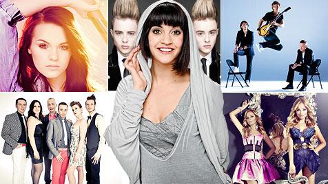 Nadine singt gegen Zwillinge, Engel und Kaugummiwerberin (Bild: ORF/Milenko Badzic, Press/Eurovision.tv)
