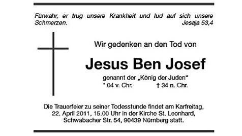 Dekan schaltet Todesanzeige für Jesus