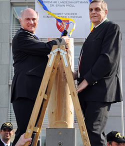 Landhaus-Maibaum aus Litschau in St. Pölten aufgestellt (Bild: Presse/Amt der NÖ Landesregierung)
