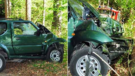 Jogger entdeckt toten Autofahrer in Wald (Bild: Freiwillige Feuerwehr Krems)