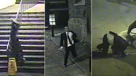 Betrunkener stürzt akrobatisch über Stiege (Bild: thesun.co.uk/YouTube)