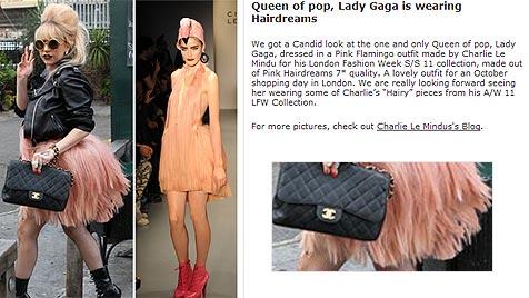 "Lady Gaga trägt Echthaar-Kleid aus Grazer ""Rohstoff"" (Bild: Screenshot/www.hairdreams.com)"