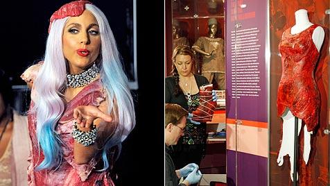 """""""Fleischkleid"""" von Lady Gaga wird in Museum ausgestellt (Bild: AP)"""
