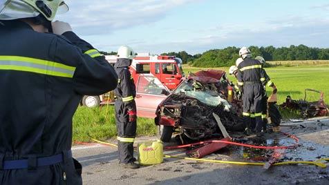 Pkw-Lenker  stirbt bei Crash mit Lkw bei St. Pölten (Bild: APA/WWW.FF-OBER-GRAFENDORF.AT)