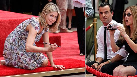 Aniston: Fröhliche Zement-Zeremonie mit Justin Theroux (Bild: AP)
