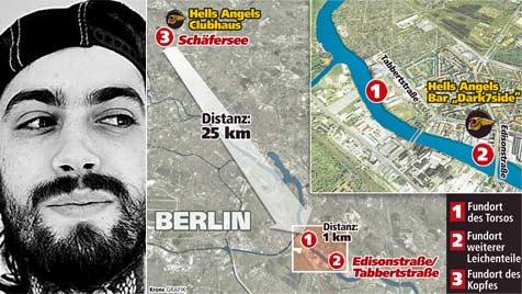 Tätowierer in Berlin ermordet: Hells Angels im Visier (Bild: Thomas Leitner/Krone-Grafik)
