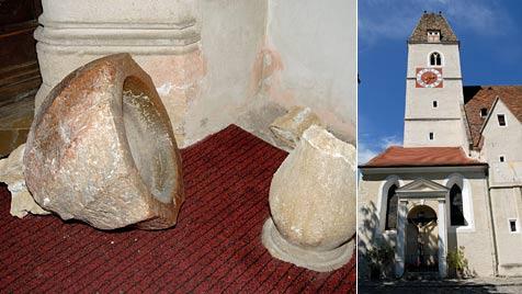 Weihwasser-Kessel stürzt in Kirche auf Urlauberbub (2) (Bild: Gregor Semrad)