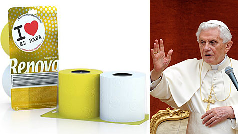 Papst-Klopapier zu Ehren von Benedikt in Spanien erhältlich (Bild: EPA, Renova.net)