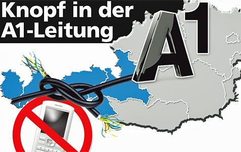 """A1-Netz im Westen Österreichs wegen Softwarefehler """"tot"""" (Bild: Krone-Grafik)"""