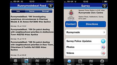 Britische Polizisten lassen sich nun per App verfolgen (Bild: Surrey Police)