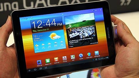Samsung entfernt Galaxy-Tablet von IFA-Messestand (Bild: dpa/Wolfgang Kumm, EPA)
