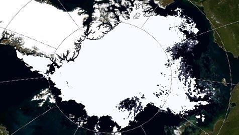 Arktis-Meereis heuer dramatisch geschrumpft (Bild: JAXA/NASA/KlimaCampus, Universität Hamburg)