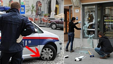 Erst bei Polizeiauto Reifen zerstochen, dann Juwelier-Raub (Bild: Hannes Markovsky)