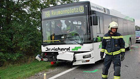 Pkw kracht frontal gegen Bus: Frau schwer verletzt (Bild: Florian Schütznhofer/BFK Mödling)