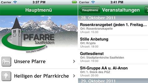 Pfarre Saalfelden als erste mit eigener iPhone-App (Bild: iTunes)