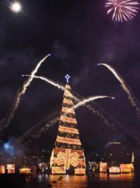 Schwimmender Weihnachtsbaum erstrahlt in Rio (Bild: EPA)