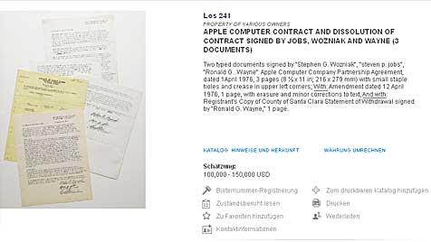 Gründungsvertrag Apples kommt unter den Hammer (Bild: Sothebys.com)