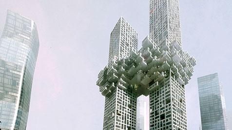 Seoul: Geplantes Hochhaus erinnert unfreiwillig an 9/11 (Bild: MVRDV)