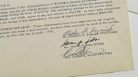 """Gründungsvertrag von Apple in New York versteigert (Bild: Sotheby""""s)"""