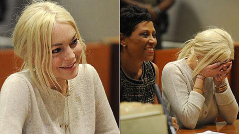Lindsay Lohan freut sich über Lob ihrer strengen Richterin (Bild: AFP)