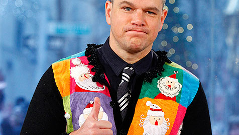 Matt Damon im superpeinlichen Weihnachtsjanker (Bild: AP)