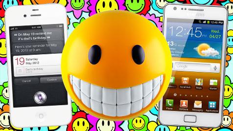 Samsung setzt gegen Apple nun auf Smiley-Patent (Bild: thinkstockphotos.de, Apple, Samsung, krone.at-Grafik)