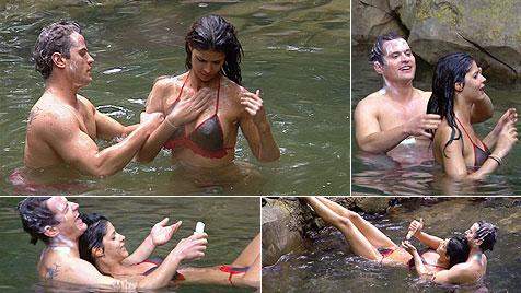 Heiße Badespiele am ersten Tag im Dschungelcamp (Bild: RTL / Stefan Menne)