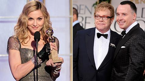 Elton Johns Mann David lästert über Globe für Madonna (Bild: AP, AFP)