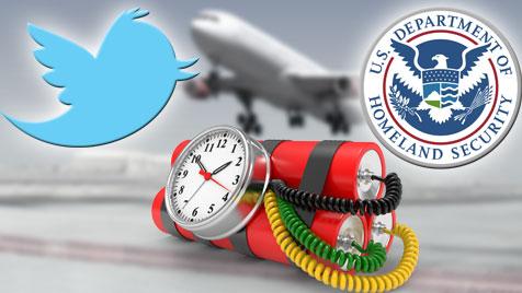 Briten wegen Witzen auf Twitter aus USA geworfen (Bild: thinkstockphotos.de, twitter.com, dhs.gov, krone.at-Grafik)