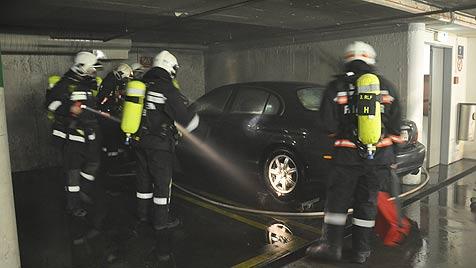 Auto von Lugner-Schwiegersohn in spe in Flammen (Bild: FF Wien/Martinek)