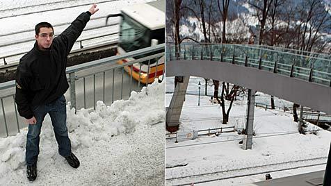 Trio schleudert in Salzburg Eisbrocken auf Fahrbahn (Bild: Niki Faistauer)