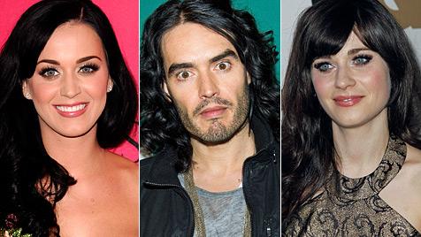 Russell Brand rittert um Katy-Perry-Klon Zooey Deschanel (Bild: AP)