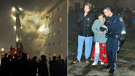 Großeinsatz der Feuerwehr: 90 Menschen evakuiert (Bild: APA/WERNER KERSCHBAUMMAYR)