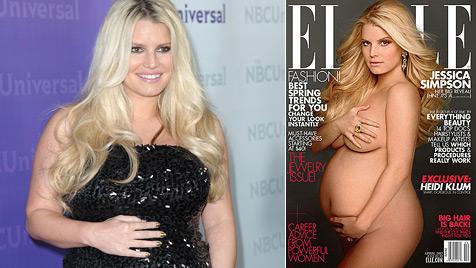"""Hochschwangere Jessica Simpson nackt auf der """"Elle"""" (Bild: AFP, Elle)"""
