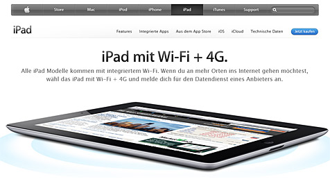 Irreführende iPad-Werbung: Apple zahlt 1,8 Mio. Euro (Bild: Screenshot Apple)