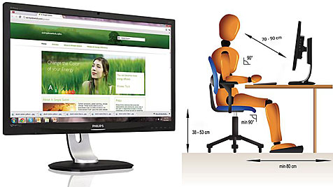 Neuer PC-Monitor schimpft bei schlechter Haltung (Bild: Philips)