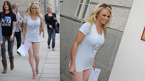 Pam Anderson: In Nacktlegging und T-Shirt zum Minister (Bild: dapd)